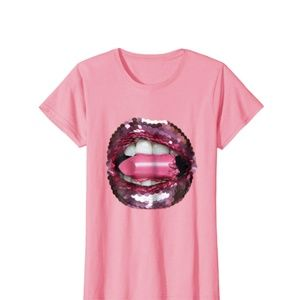 Sequin Lipstick Tee | Pink | Various Sizes